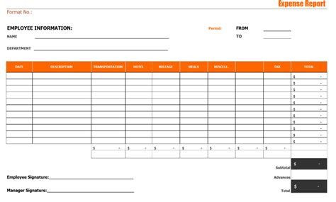 travel expense report template expense report template