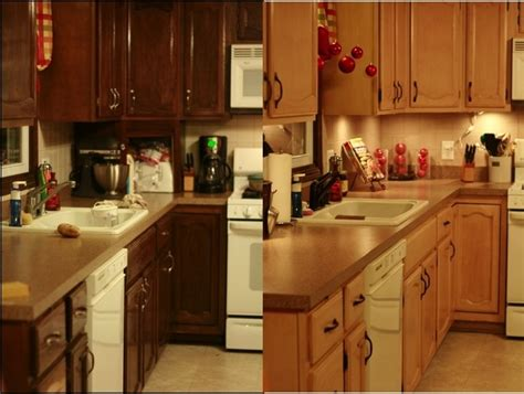Staining Cabinets Before And After by Gel Stain Oak Cabinets Before After 2015 Home Design Ideas