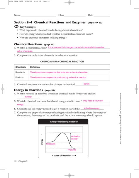 section 2 4 chemical reactions and enzymes prentice hall chemistry chapter 11 worksheets answers