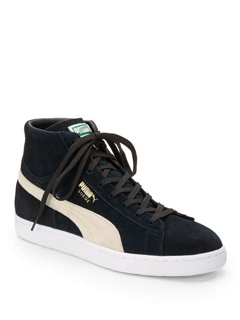 classic sneakers mens suede mid classic sneakers in black for lyst