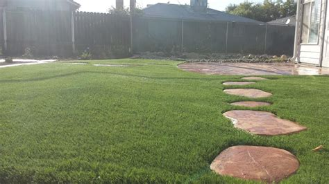 concrete patio with custom concrete stepping stones with
