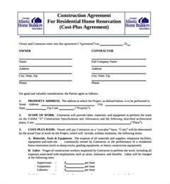 cost plus building contract template sle construction agreement template 6 free documents