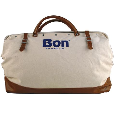Bon Bag Pack Of 3 bon 20 in canvas tool bag with leather bottom in white 11 125 the home depot