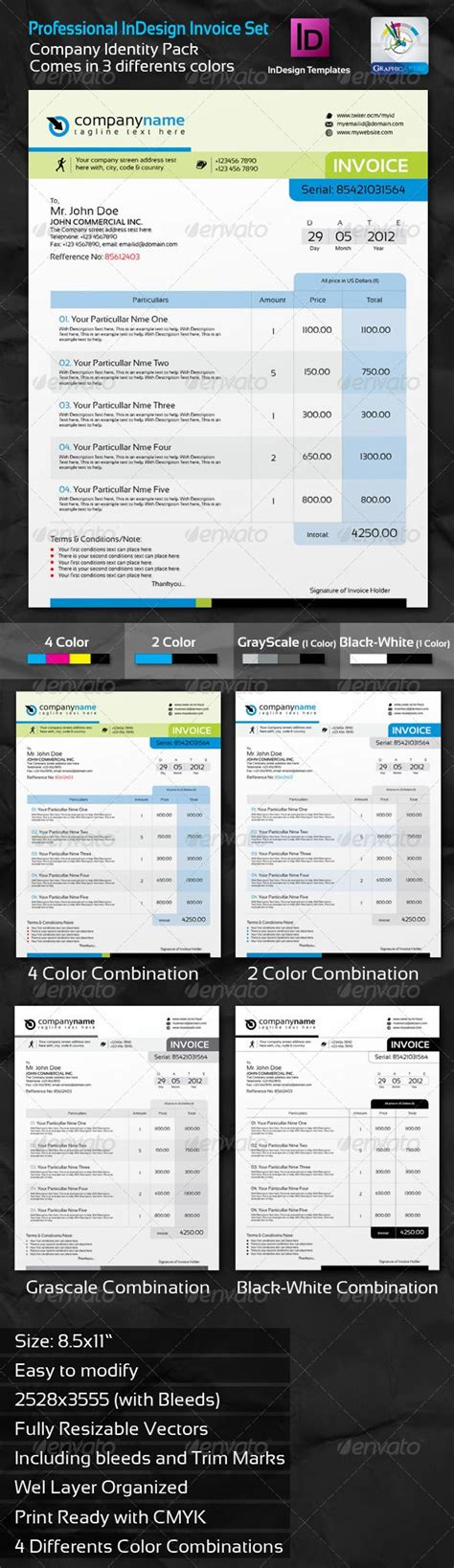 Professional Invoice Indesign Template Set Fonts Invoice Template And Colors Photo Essay Template Indesign