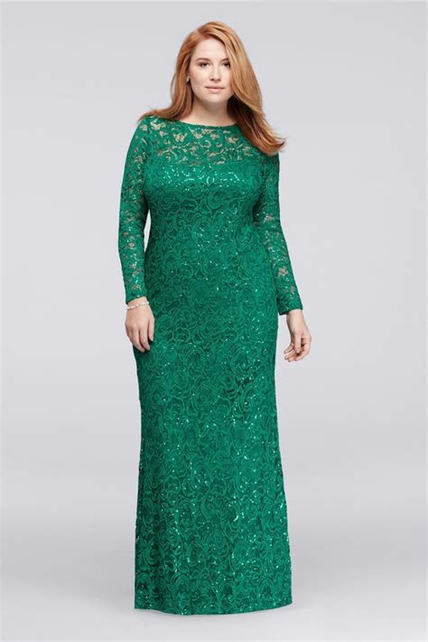 emerald green long sleeve dress long lace plus size mother of bride groom dress with long