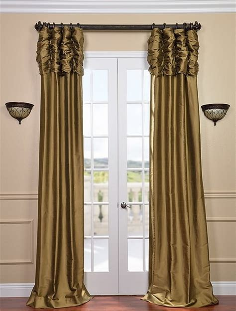 silk gold curtains ruched taupe gold thai silk curtain traditional