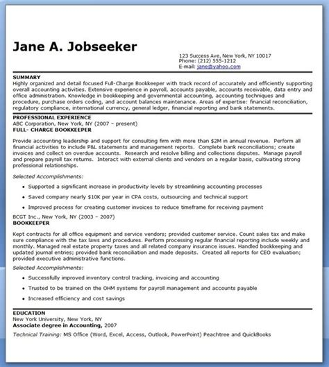 Bookkeeper Resume by Bookkeeper Resume Sle Summary Career