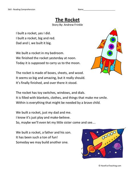 Free 3rd Grade Reading Comprehension Worksheets by Reading Comprehension Worksheet The Rocket