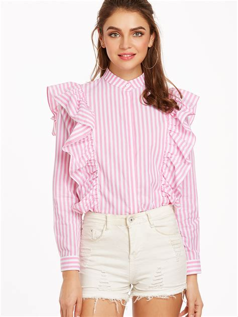Sale Style Blouse Import vertical striped button frill blouse shein sheinside