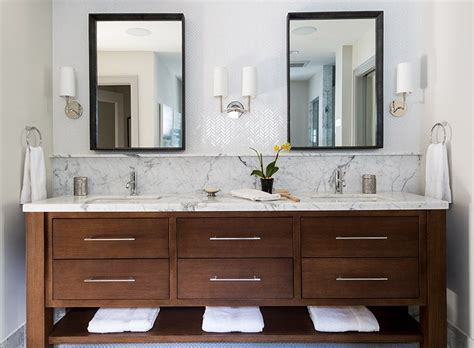 bathroom vanity backsplash contemporary bathroom vanity with marble top backsplash herringbone wall tile bathrooms