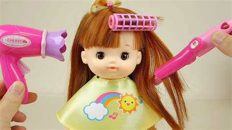 doll hair baby doll hair cut and hair wave with drier toys