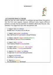 verb pattern plan verb patterns worksheet by anamachado
