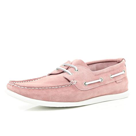 river island light pink boat shoes in pink for lyst