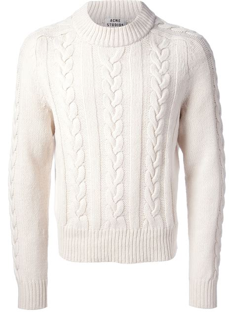 white knit sweater mens lyst acne studios brent cable knit sweater in white for