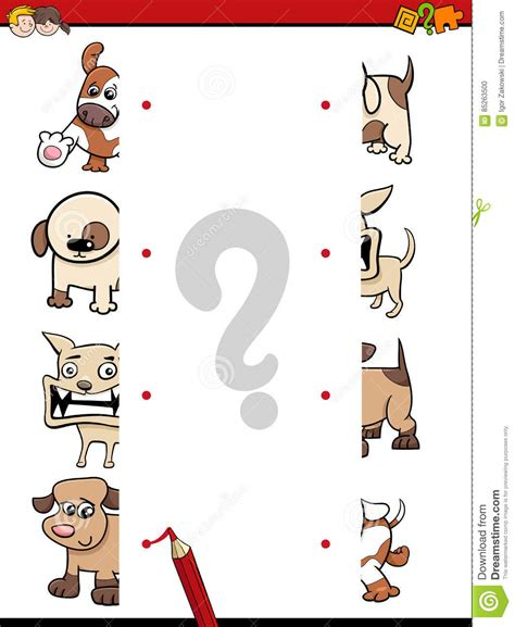 puppy match match the halves vector illustration cartoondealer 85263500