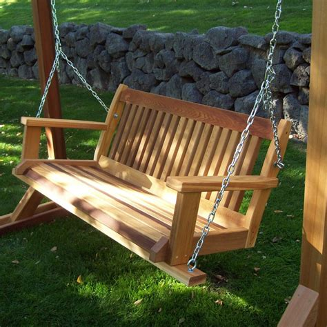 wooden bench swing wood country cabbage hill red cedar swing benches