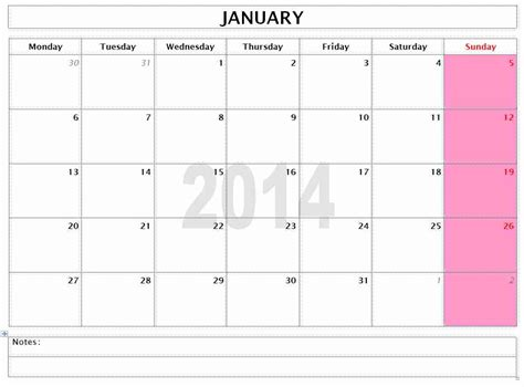 Monthly Calendar Templates 2014 2014 monthly calendar freewordtemplates net