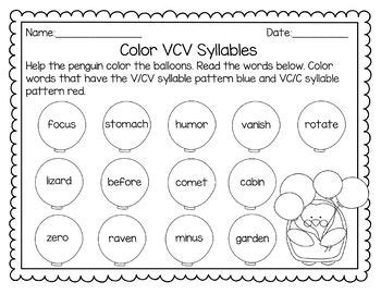 vcv pattern games syllable patterns v cv vc v and vc cv no prep