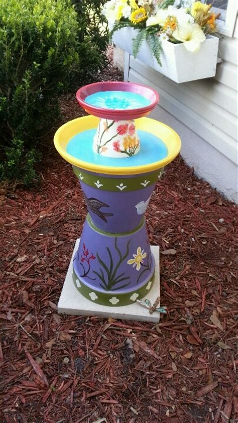 colorful bird baths 1000 images about clay pot bird baths feeders on