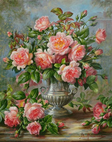 elegance roses in a silver vase painting by albert