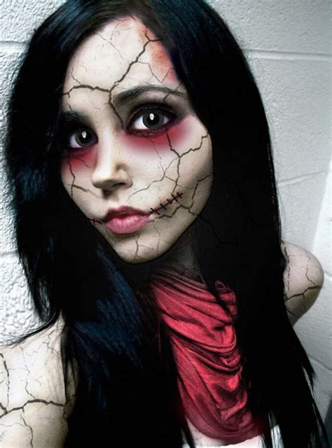 creepy broken doll hair makeup and costume tutorial extremely horrible makeup ideas for halloween pretty designs