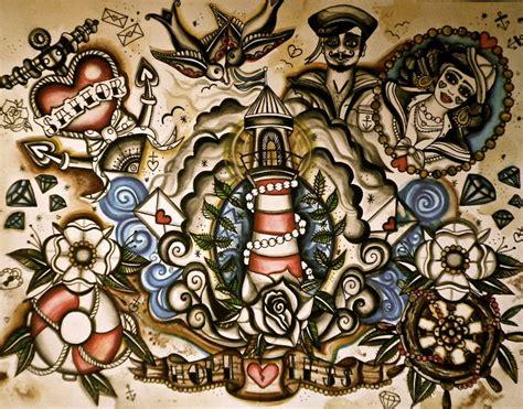 Nautical Tattoo Flash Sheet Sophie Speke Fine Artist Nautical Flash 2