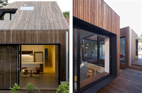 timber architecture timber clad cut away roof house in sydney puts a modern