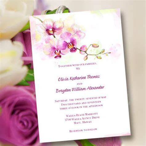 Orchid Wedding Invitation Template Printable Wedding Invitation Template Orchid