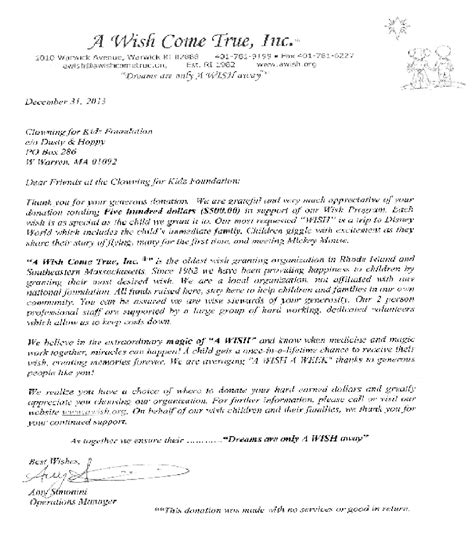 Thank You Letter For Coming Clowningforkidz Community Impact