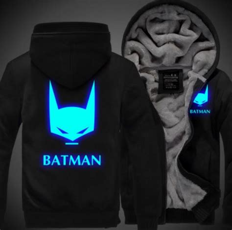 Hoodie Zipper Anak Batman Custom batman hoodie with luminous picture free shipping worldwide
