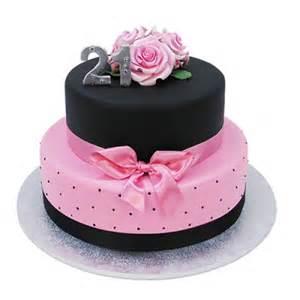 black pink 21st cake tiers