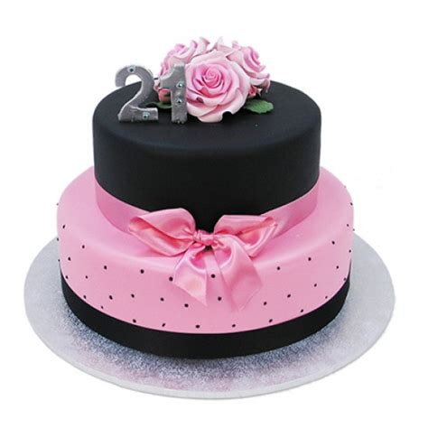 black and pink birthday cake black and pink 21st cake two tiers