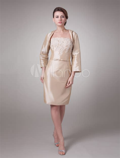 Champagne Two Piece Taffeta Mother Of Bride And Groom