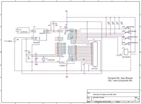 ds1307 circuit diagram ds1307 alarm digital clock circuit electronic circuit