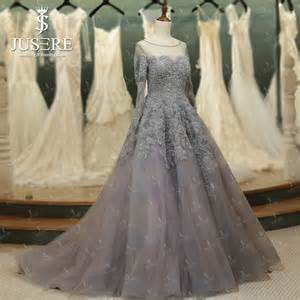 illusion neckline long sleeves appliques bead ball gown