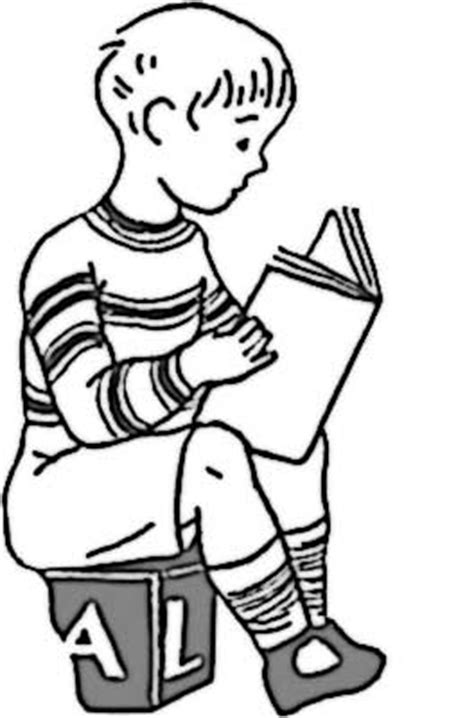 boy reading coloring page boy reading coloring page for kids free printable picture