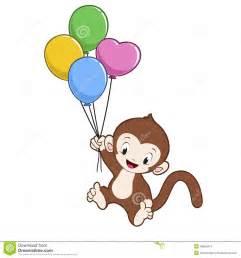 cartoon monkey balloon stock vector image 48595914