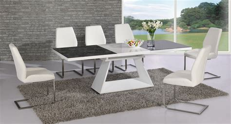 Amsterdam White Glass And Gloss Extending Dining Table 6 Extending Glass Dining Table And Chairs