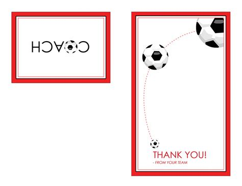 Templates For Thank You Cards Half Fold by Thank You Card For Soccer Coach Quarter Fold Templates