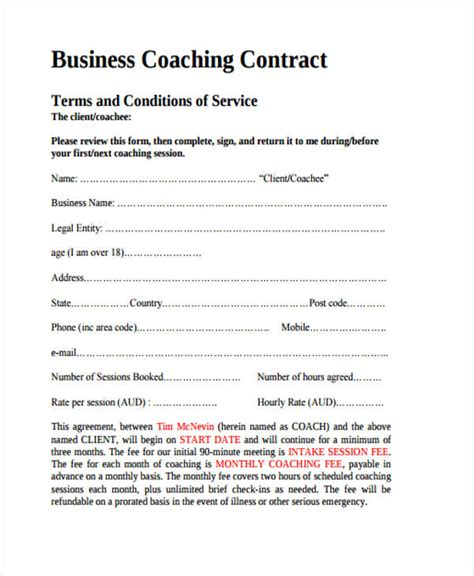 coaching contracts templates 8 coaching contract templates free sle exle