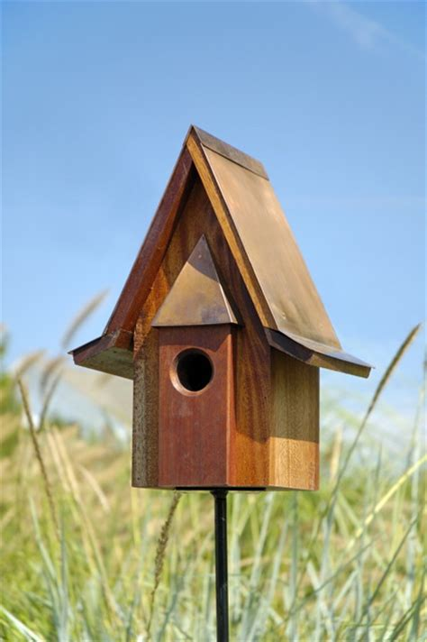 live roof birdhouse heartwood mahogany chateau birdhouse with burnished copper