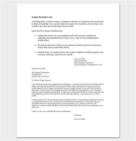 Covered Financial Institution Letter hardship letter template for creditors docoments ojazlink