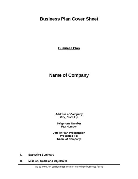 business plan cover sheet hashdoc