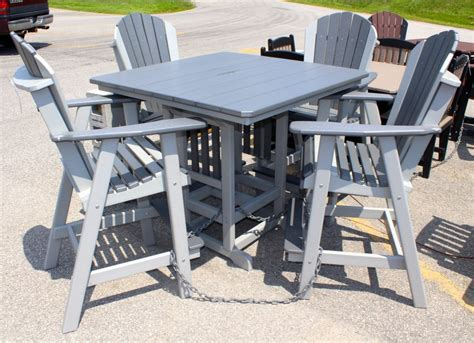 adirondack table and chairs poly 44 square bar height table and adirondack chair set