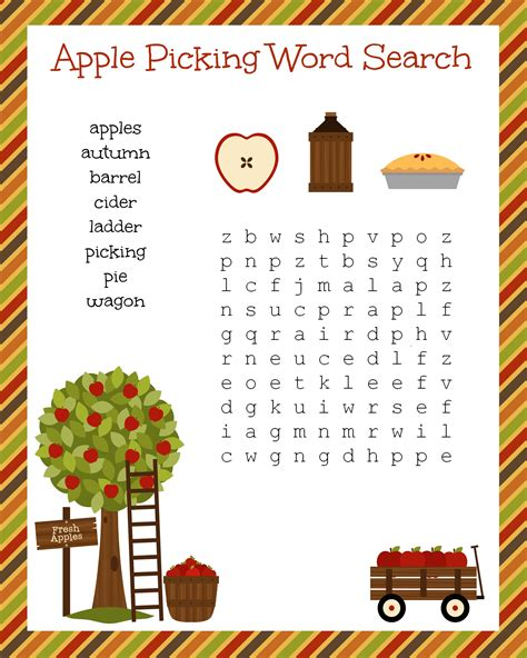 Free And Search Free Fall Festive Apple Picking Word Search Printable Worksheet