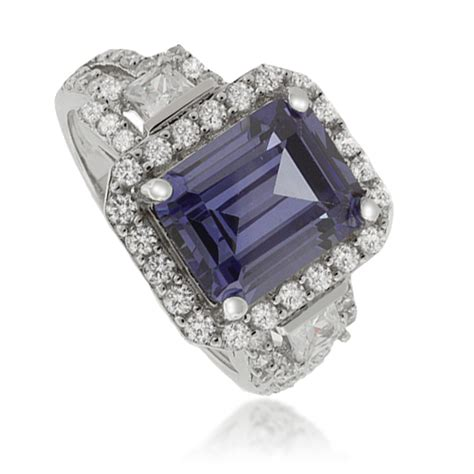 emerald cut tanzanite 925 sterling silver ring silverbestbuy