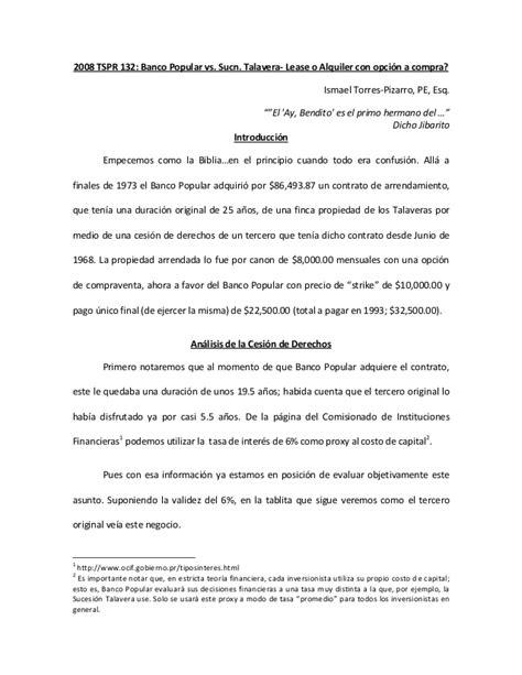 Atomic Bomb Essay by 2008 Tspr 132 Banco Popular Vs Sucn Talavera Lease O Alquiler Con