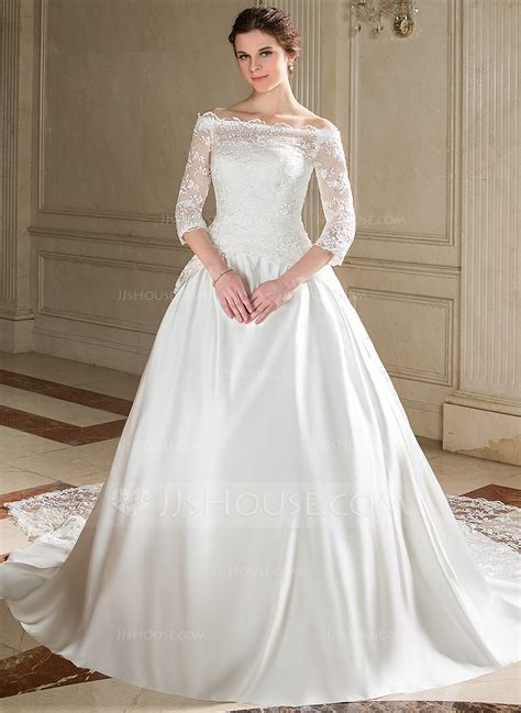 hochzeitskleid jjshouse ball gown strapless chapel train satin wedding dress