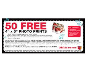 Office Depot Login by Office Depot 50 Free 4x6 Photo Prints With Coupon Free