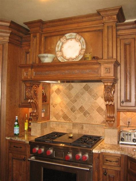 Range Hood Ideas Kitchen Wood Carved Oak Leaf And Acorn Decorative Range Hood